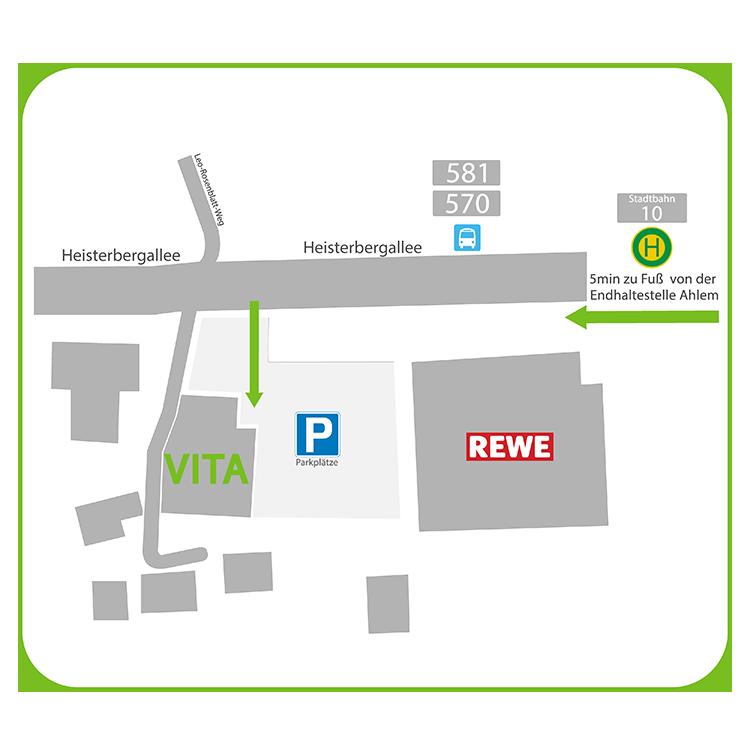 Anfahrtsskizze zum VITA Gesundheit in Hannover